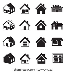 House Icons. Black Flat Design. Vector Illustration.