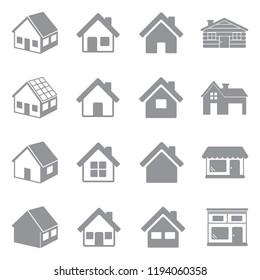 House Icons. Gray Flat Design. Vector Illustration.