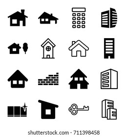 House icons set. set of 16 house filled and outline icons such as building, clean window, business center, home, brick wall, intercom
