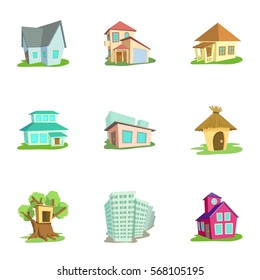 House icons set. Cartoon illustration of 9 house vector icons for web