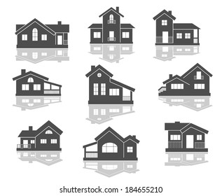 House icons set in grey and white with reflections for real estate logo design