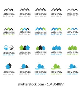 House Icons - Set - Isolated On White Background - Vector Illustration, Graphic Design Editable For Your Design. House Logo