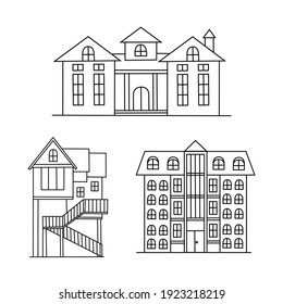 House Icons Set on White Background. Line Style Vector. Hand drawn house vector