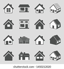 House Icons. Sticker Design. Vector Illustration.