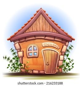 House illustration with grass. House with window and door. On house Welcome text. Vector illustration with house.