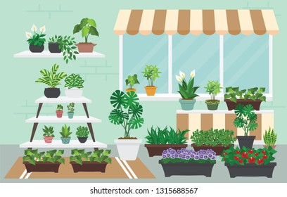 House indoor vector plants and nature homemade flowers in pot interior decoration houseplant natural tree flowerpot illustration. Natural green gardening blossom foliage. - Images vectorielles