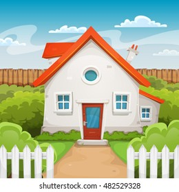 House Inside Garden/ Illustration of a cartoon domestic house in spring or summer season, with backyard garden, grass, fence and hedges