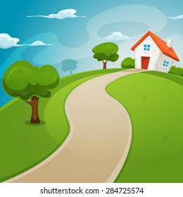 House Inside Green Fields/ Illustration of a cartoon house on a top of a hill in spring or summer season, inside rounded green landscape