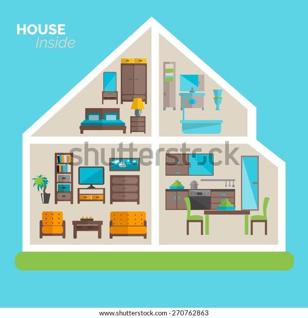 House Inside Interior Design Ideas Poster Stock Vector Royalty Free 270762863