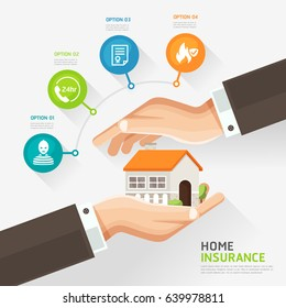 House insurance business service icons template. Businessman hands protecting the house, real estate insurance, home insurance concept. Can be used for workflow layout, banner, diagram, infographics.