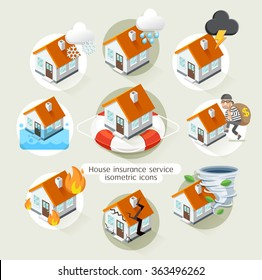 House insurance business service isometric icons template. Vector illustration. Can be used for workflow layout, banner, diagram, number options, web design, timeline, infographics.