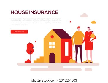 House insurance - colorful flat design style web banner on white background with copy space for text. A composition with a family, parents with a baby standing at the building. Protection of property