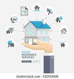 House insurance services. Business hands holding house. Vector Illustrations.