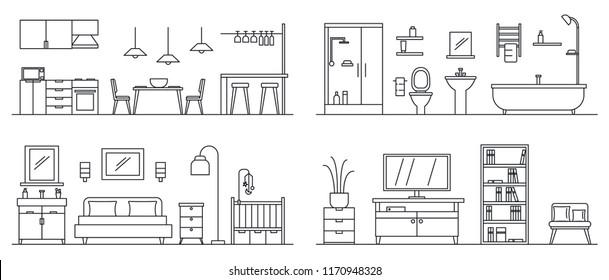 House interior banner set. Outline illustration of house interior vector banner set for web design