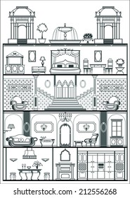 house interior in baroque style silhouette. Vector illustration