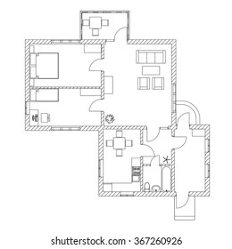 House interior. Black and White floor plan of a modern apartment. Vector blueprint. Architectural background.