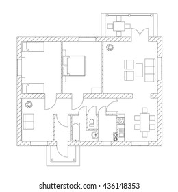House interior. Black and White floor plan of a modern apartment. Vector architectural blueprint.