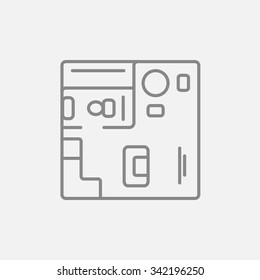 House interior with furniture line icon for web, mobile and infographics. Vector dark grey icon isolated on light grey background.