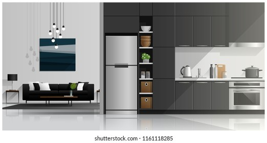 House interior scene with modern kitchen and living room , vector , illustration