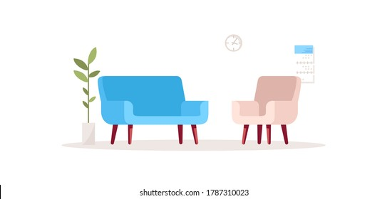 House interior semi flat RGB color vector illustration. Sofa and armchair for psychological consultation. Comfortable home couch and chair. Office furniture isolated cartoon object on white background