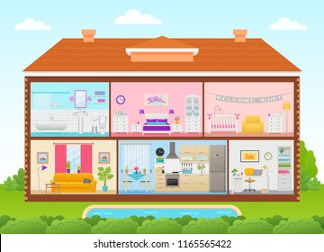 House interior. Vector. Home cross section with rooms bedroom, living room, kitchen, office, bathroom, nursery. House inside in cut with roof, pool, tree, sky. Cartoon cutaway illustration flat design