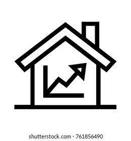 House investment growth flat icon. Real estate property linear vector illustration. Isolated on white background.