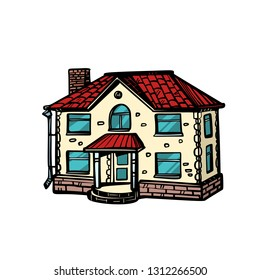 house isolate on white background. Pop art retro vector illustration drawing kitsch vintage