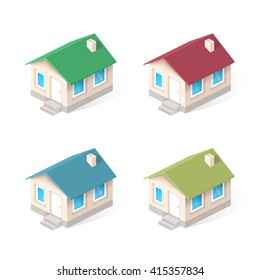 House isometric vector icons set