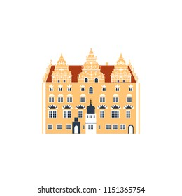 House Of Jens Bang In Aalborg, Denmark landmark vector cartoon illustration isolated on white background, danish decorative flat building, architecture historic sight attraction, Travel sightseeing
