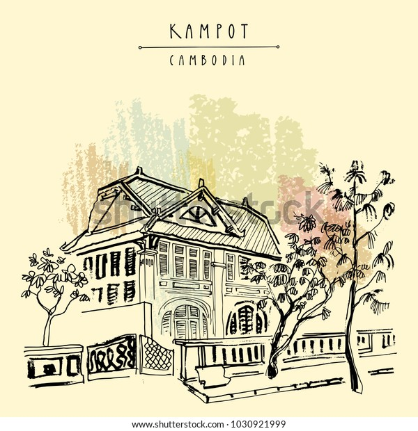 House Kampot Cambodia Old French Colonial Stock Vector