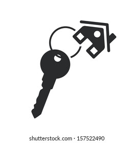 house key black web icon. vector real estate template