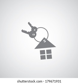 house key chain icon on gray background