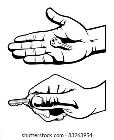 House Key in Hand Black and White Vector Illustration Graphic