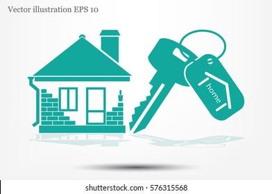 house key hand vector icon.