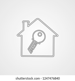 house and key illustration vector icon