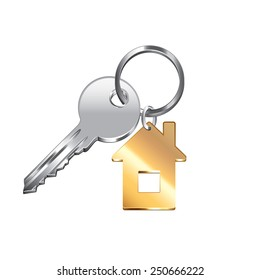 House key isolated on white photo-realistic vector illustration