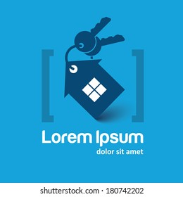 house and key selling and renting, home search, home with key logo template