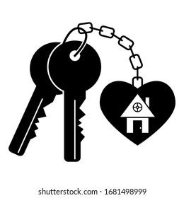 House keys vector black silhouette isolated on a white background.