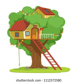 House with ladder on green tree vector Illustration on a white background