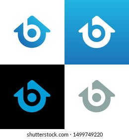 House with letter b logo template, blue home symbol - Vector