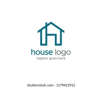 House and Letter h Logo Vector Design Template.