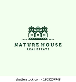 House Line Art Modern Logo Illustration Design. Simple Modern Minimalist House Logo Template Design. Creative Nature House Logo Inspiration Design