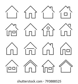 House line icon. Building for human habitation set, residence for family, shelter or a place to live. Vector line art home illustration isolated on white background