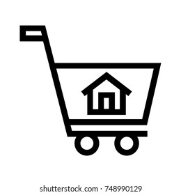 House line icon in a shopping cart. Buying real estate property sign. Symbol of a residential home inside a trolley. Pixel perfect EPS vector file.