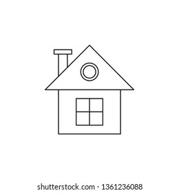 House line icon. Townhouse linear illustration. Home. Family country house. Property, real estate. Townhome. Living place. Building exterior. Contour drawing. Isolated vector outline symbol