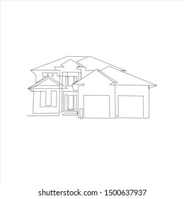 House line vector illustration. One line logo. Simple icon. house line drawing