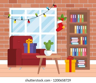 house livingroom with christmas decoration