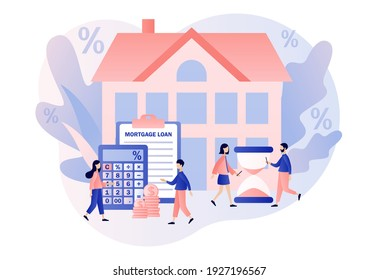 House loan. Mortgage concept. Tiny people buying home and pay credit to bank. Investment money in real estate property. Modern flat cartoon style. Vector illustration on white background