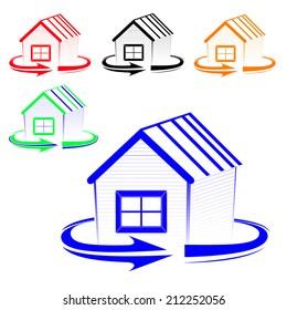 House logo with an arrow