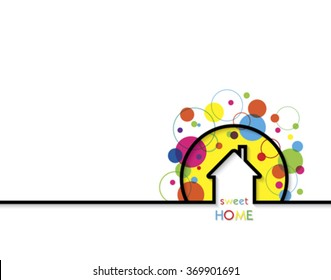 House logo design with place for text. Home Sweet Home Vector Illustration on white background